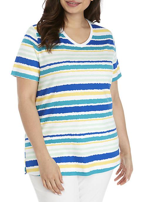 Plus Size Short Sleeve V-Neck Stripe Top