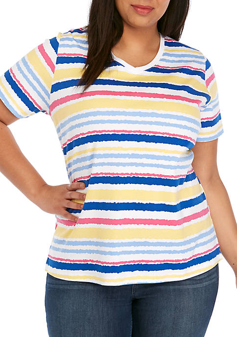 Kim Rogers® Plus Size Short Sleeve V-Neck Stripe