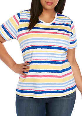 ceaad492850f3 Kim Rogers® Plus Size Short Sleeve V-Neck Stripe Top ...