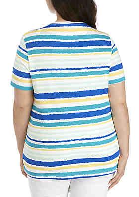 e6197f62c08 ... Kim Rogers® Plus Size Short Sleeve V-Neck Stripe Top