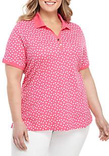 Kim Rogers® Plus Size Sprinkle Dot Polo Shirt