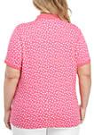 Plus Size Sprinkle Dot Polo Shirt
