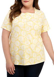Kim Rogers® Plus Size Short Sleeve Square Neck Medallion Pattern Top