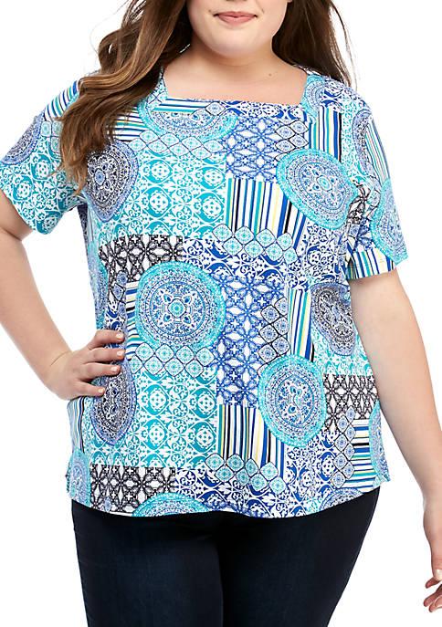 Kim Rogers® Plus Size Short Sleeve Square Neck