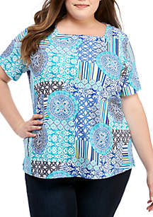 Kim Rogers® Plus Size Short Sleeve Square Neck Tile Print Top