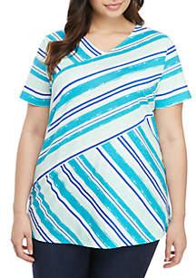 2eb4e61bbd359 ... Kim Rogers® Plus Size Printed Short Sleeve Knit Top