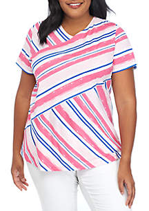 Kim Rogers® Plus Size Printed Short Sleeve Knit Top