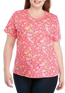 Kim Rogers® Plus Size V-Neck Flamingo Print Tee