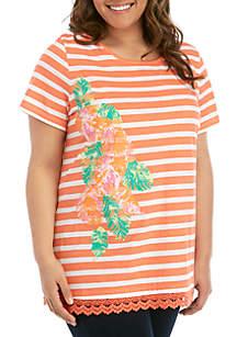Kim Rogers® Plus Size Short Sleeve Crochet Hem Floral Placement Tunic Top