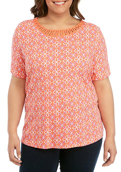 Kim Rogers® Plus Size Short Sleeve Neck Detail