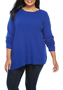 Plus Size Long Sleeve Cable Crew Neck Sweater