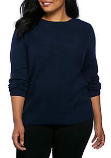 Plus Size Long Sleeve Mix Rib Sweater