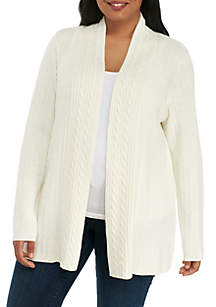 Plus Size Long Sleeve Solid Cable Knit Cardigan