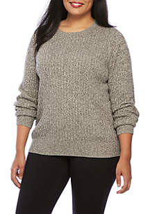 Long Sleeve Cable Neck Sweater
