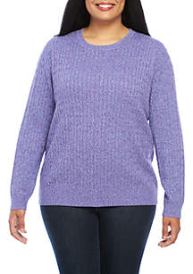 Plus Size Long Sleeve Cable Neck Sweater
