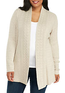 Plus Size Long Sleeve Cable Knit Heather Cardigan