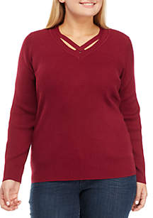 Plus Size Long Sleeve V-Neck Solid Top