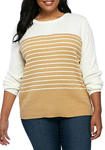 Plus Size Long Sleeve Cable Crew Colorblock Top