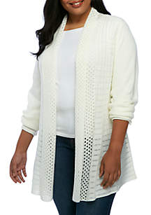 Plus Size Solid Fan Stitch Cardigan
