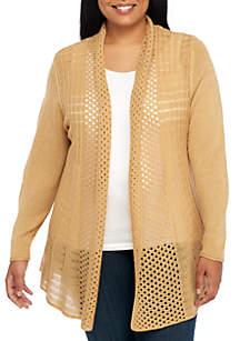 Kim Rogers® Plus Size Solid Fan Stitch Cardigan