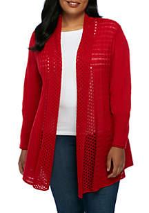 Plus Size Solid Fan Stitch Cardigan