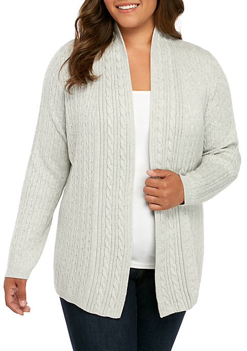 Kim Rogers® Plus Size Cable Knit Heather Cardigan