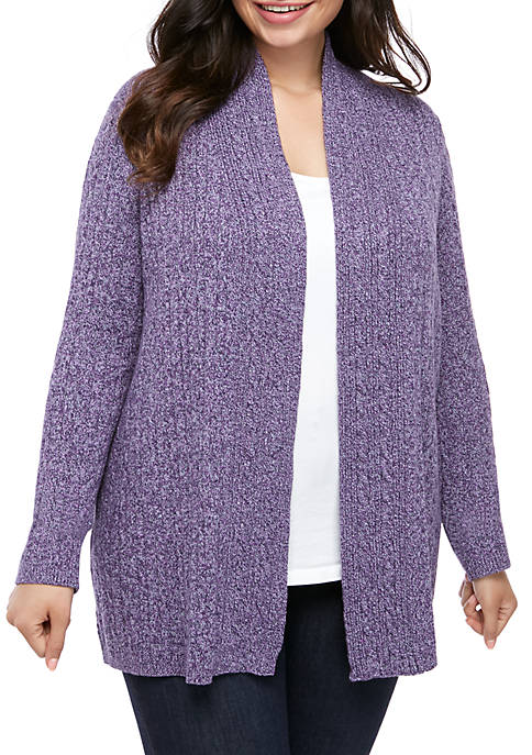 Plus Size Marled Cable Knit Cardigan
