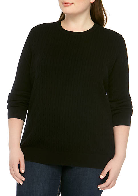Kim Rogers® Plus Size Cable Knit Sweater