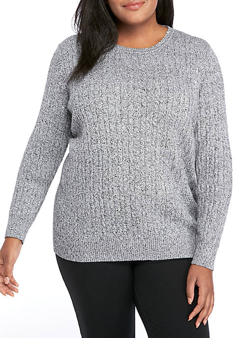 Plus Size Marled Cable Knit Sweater