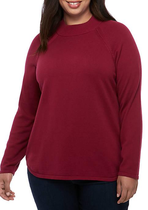 Kim Rogers® Plus Size Long Sleeve Mock Neck