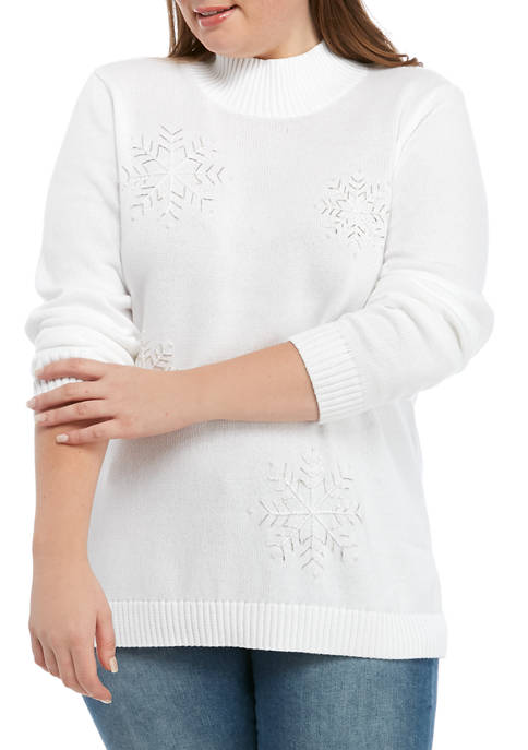 Kim Rogers® Plus Size Embellished Mock Neck Sweater