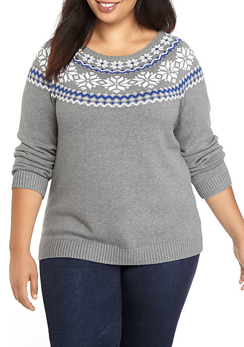 Plus Size Fair Isle Pullover Sweater