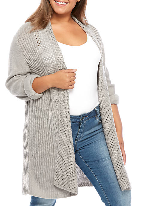 Kim Rogers® Plus Size Long Sleeve Fan Stitch