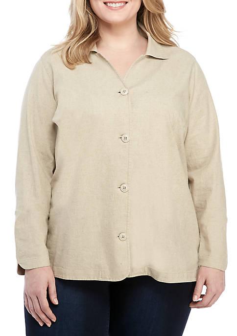 Kim Rogers® Plus Size Long Sleeve Button Linen