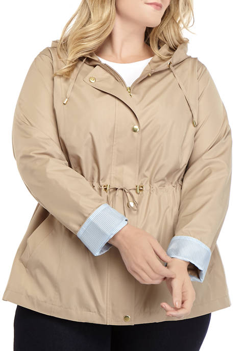 Kim Rogers® Plus Size Long Sleeve Solid Anorak