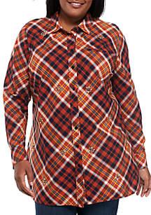 Plus Size Long Sleeve Embellished Tunic