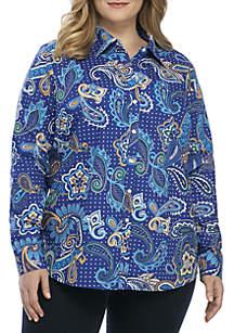 Plus Size Long Sleeve Paisley Print Shirt