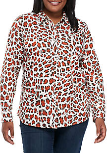 Plus Size Long Sleeve Animal Print Top