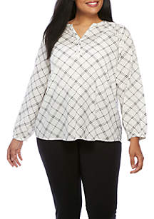 Plus Size Long Sleeve Printed Henley Top