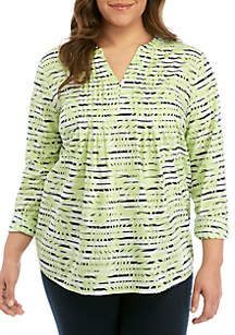 Kim Rogers® Plus Size Long Roll Tab Sleeve Pintuck Henley Printed Top