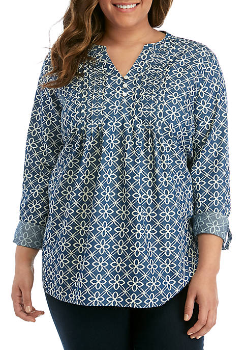 Plus Size Long Roll Tab Sleeve Pintuck Henley Printed Top