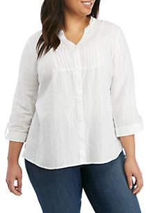 Kim Rogers® Plus Size Linen Pintuck Top
