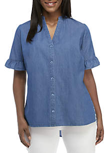 Kim Rogers® Plus Size Short Ruffle Sleeve Button Front Top