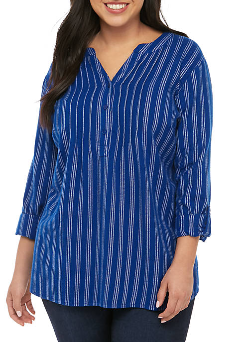 Kim Rogers® Plus Size Roll Tab Flannel Popover