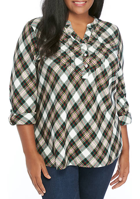 Kim Rogers® Plus Size Roll Tab Sleeve Flannel