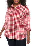 Plus Size 3/4 Roll Tab Sleeve Cambric Printed Shirt