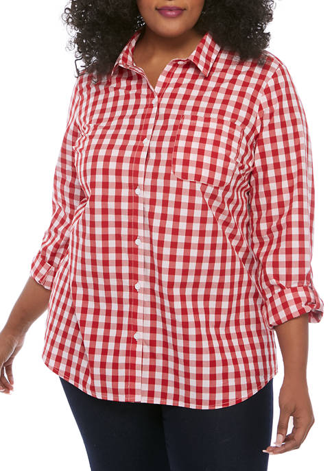 Kim Rogers® Plus Size 3/4 Roll Tab Sleeve