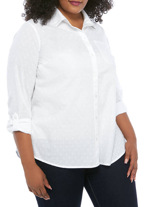 Kim Rogers® Plus Size 3/4 Roll Tab Sleeve