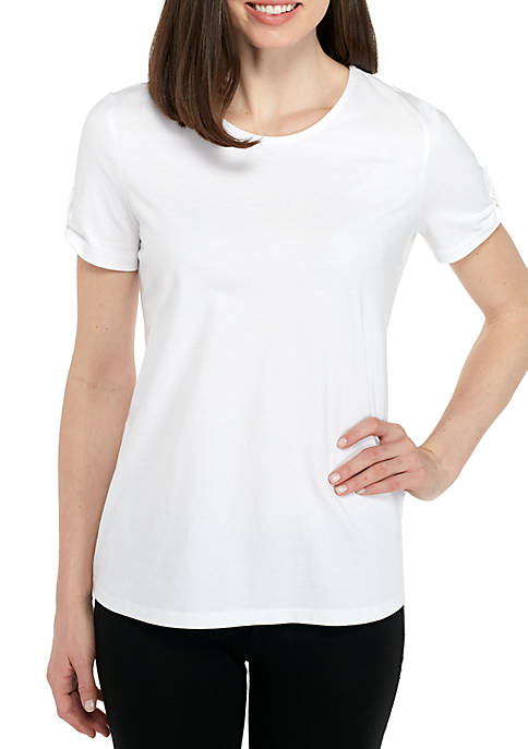 Kim Rogers® Short Sleeve Crew Neck Button Back