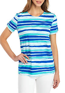 Short Sleeve Crew Neck Button Back Stripe Top